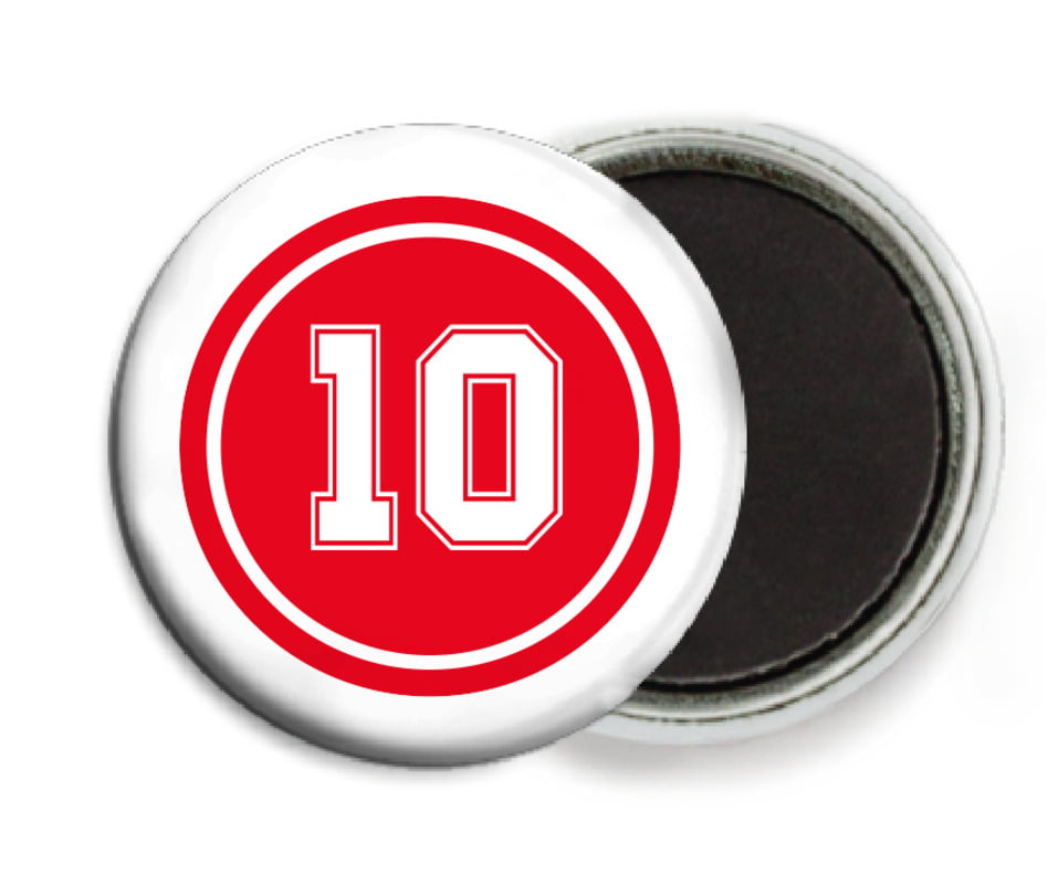 custom button magnets - red & white - football (set of 6)