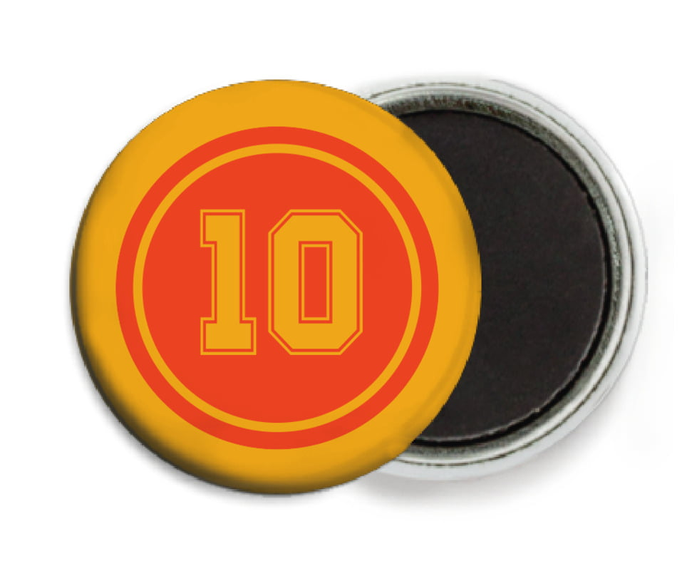 custom button magnets - orange & gold - football (set of 6)