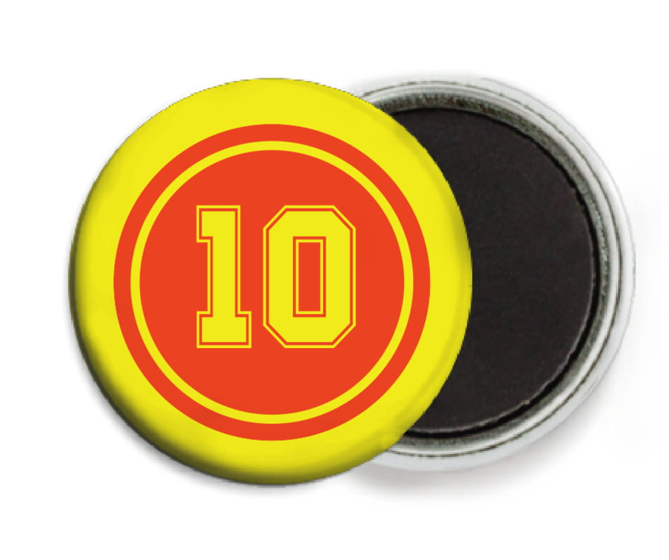 custom button magnets - orange & yellow - football (set of 6)