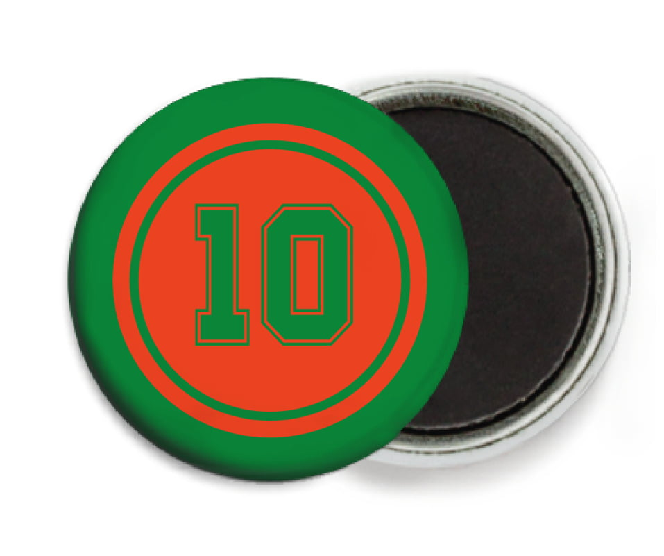 custom button magnets - orange & green - football (set of 6)