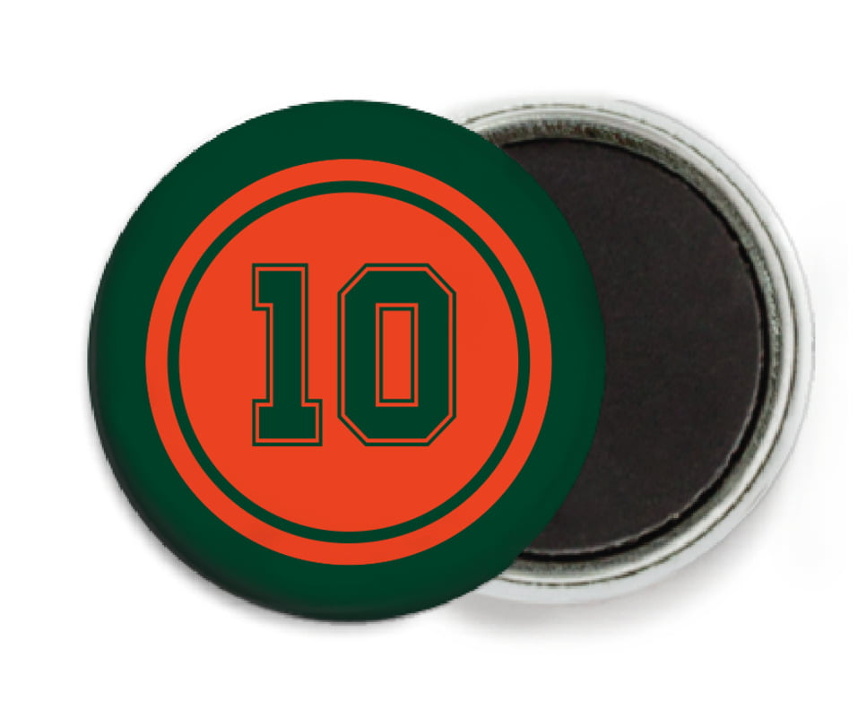 custom button magnets - orange & forest - football (set of 6)