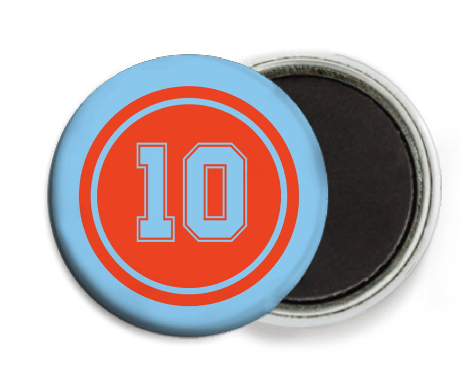 custom button magnets - orange & light blue - football (set of 6)