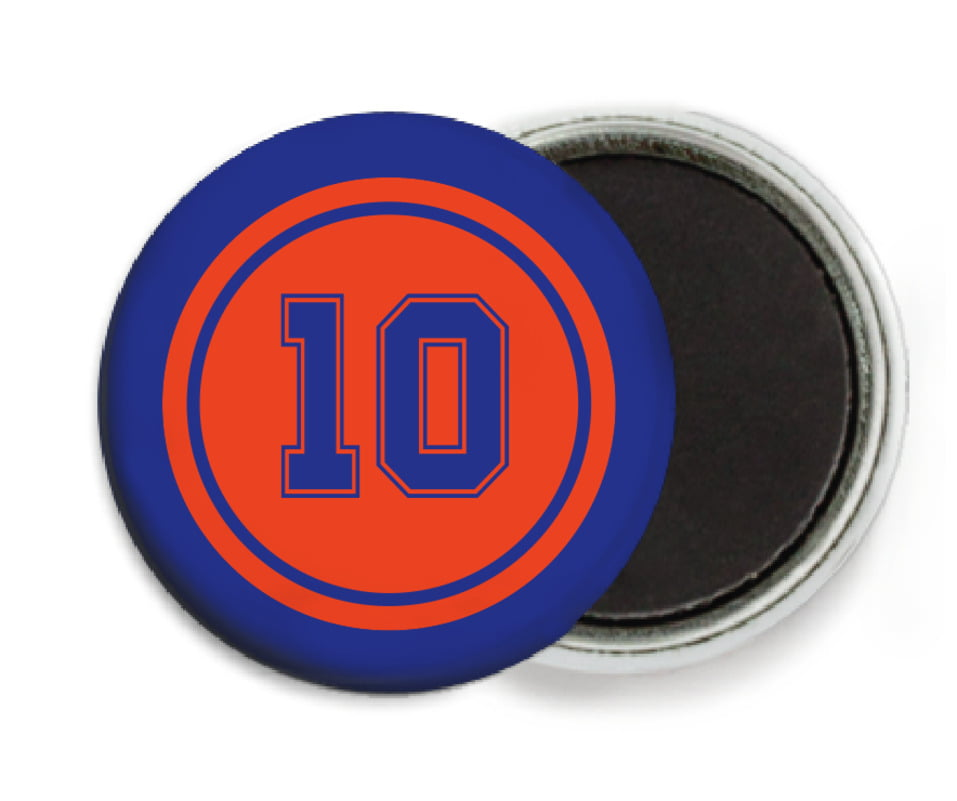 custom button magnets - orange & royal - football (set of 6)