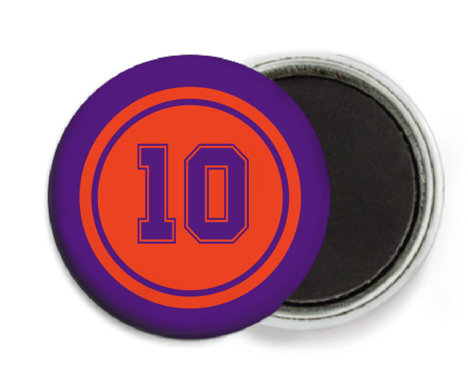 custom button magnets - orange & purple - football (set of 6)