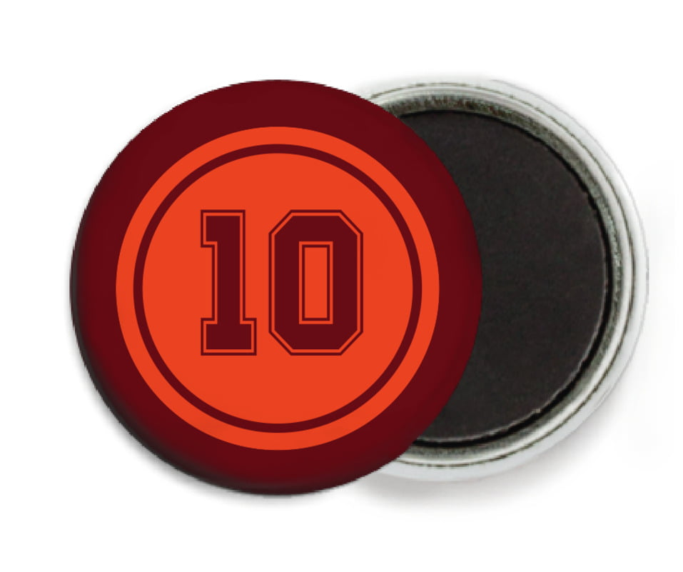 custom button magnets - orange & maroon - football (set of 6)