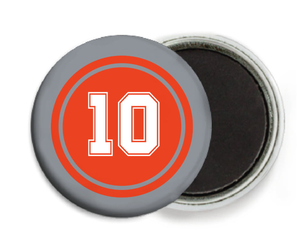 custom button magnets - orange & silver - football (set of 6)