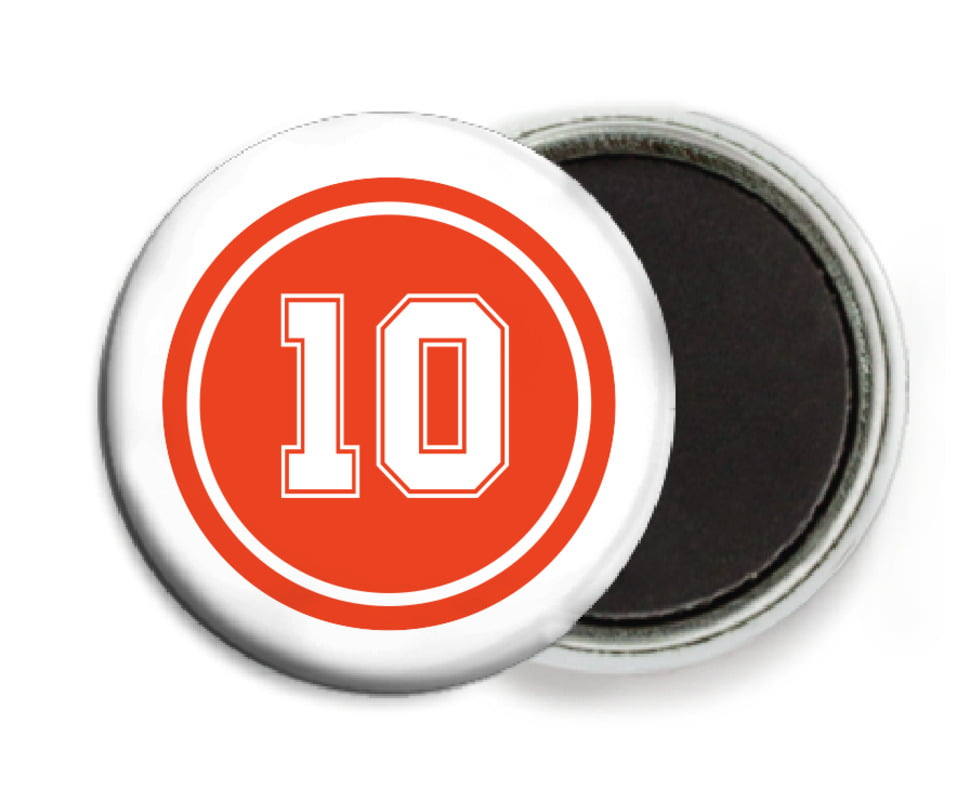 custom button magnets - orange & white - football (set of 6)