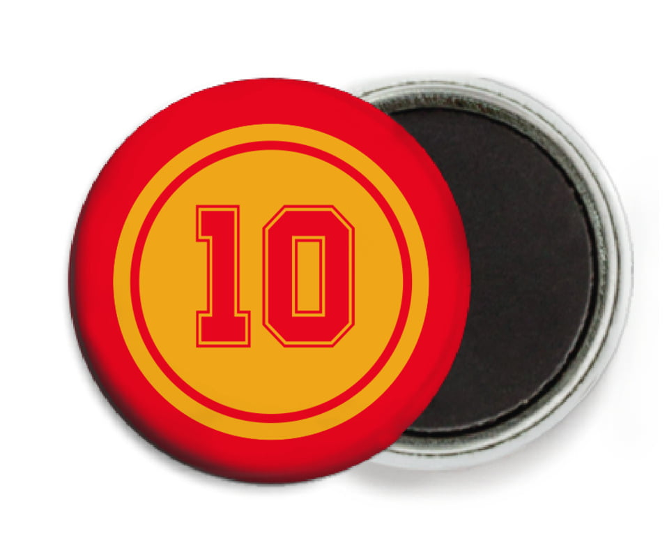 custom button magnets - gold & red - football (set of 6)
