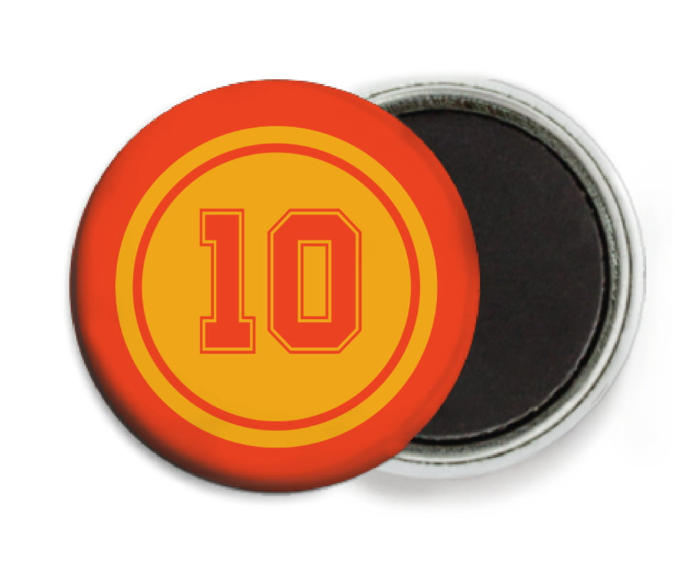 custom button magnets - gold & orange - football (set of 6)