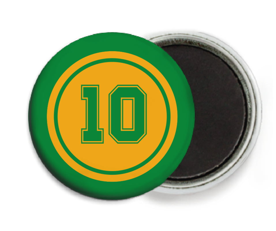 custom button magnets - gold & green - football (set of 6)