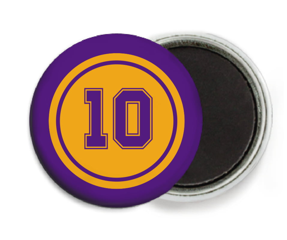 custom button magnets - gold & purple - football (set of 6)