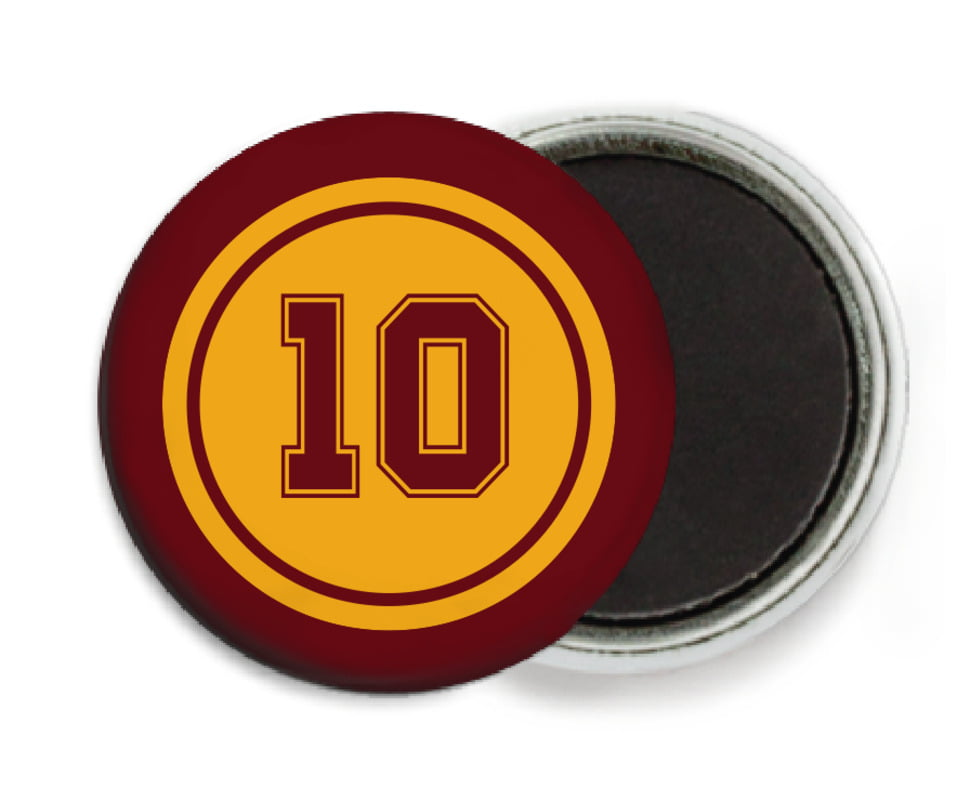 custom button magnets - gold & maroon - football (set of 6)