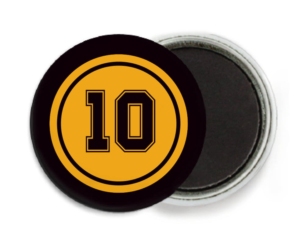 custom button magnets - gold & black - football (set of 6)
