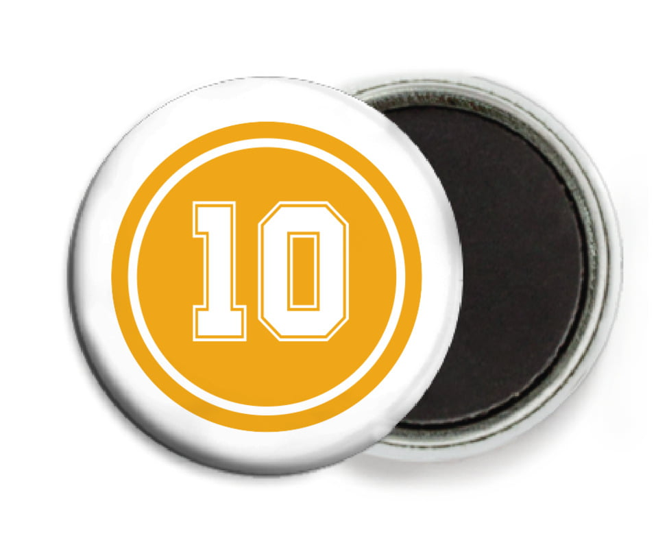 custom button magnets - gold & white - football (set of 6)
