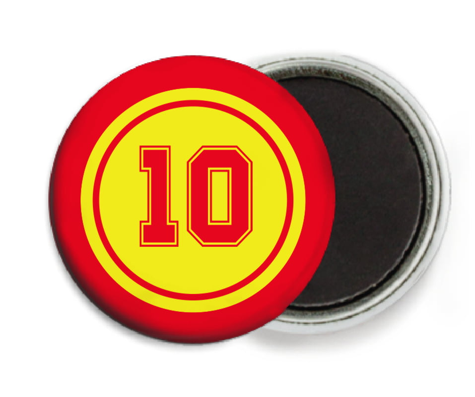 custom button magnets - yellow & red - football (set of 6)
