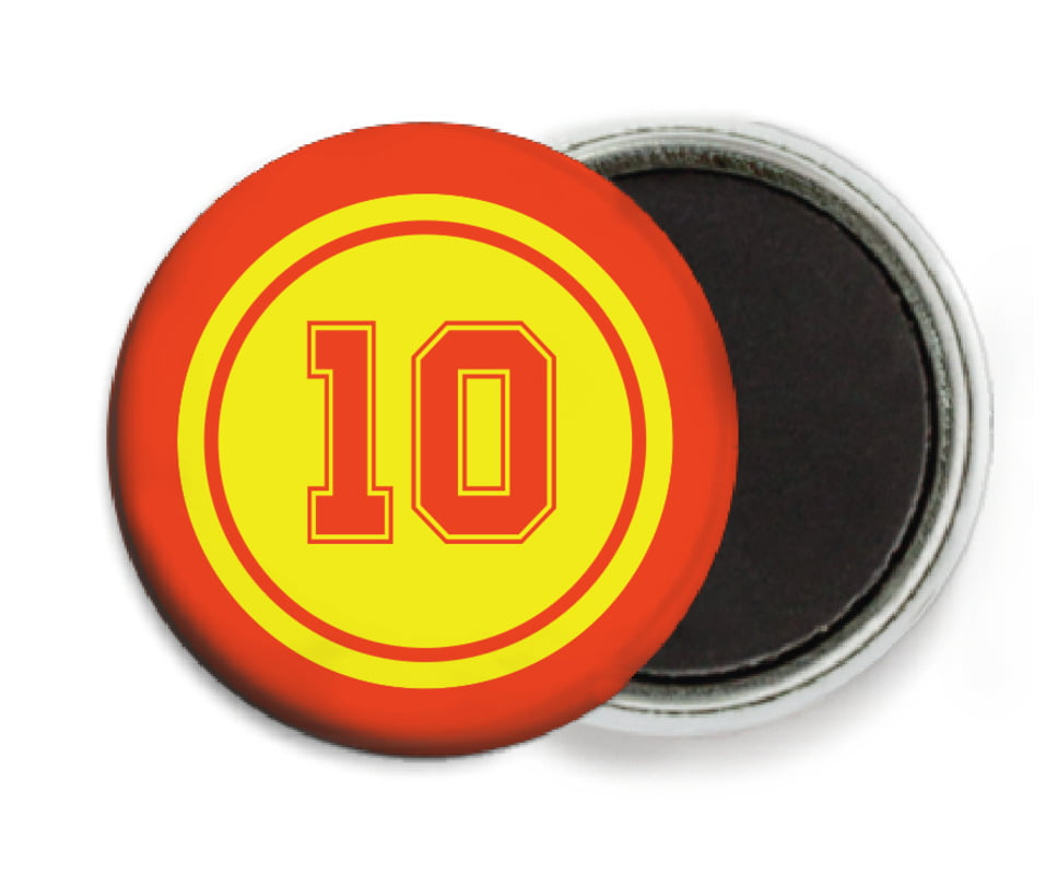 custom button magnets - yellow & orange - football (set of 6)