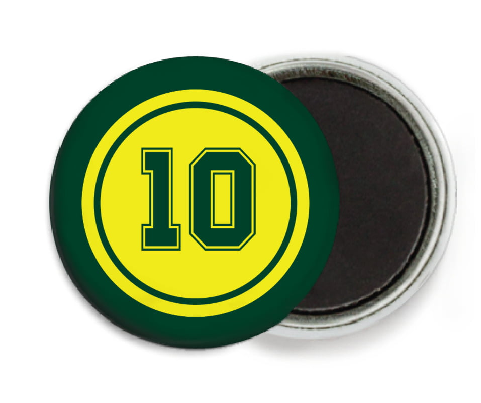 custom button magnets - yellow & forest - football (set of 6)