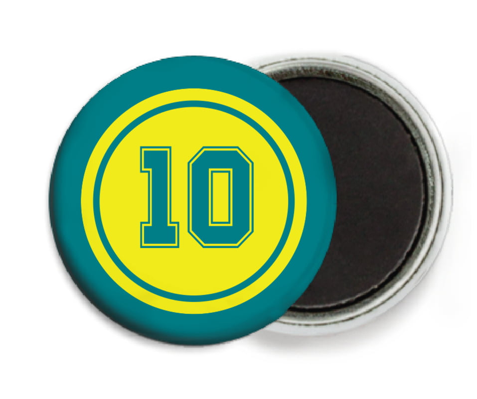 custom button magnets - yellow & teal - football (set of 6)
