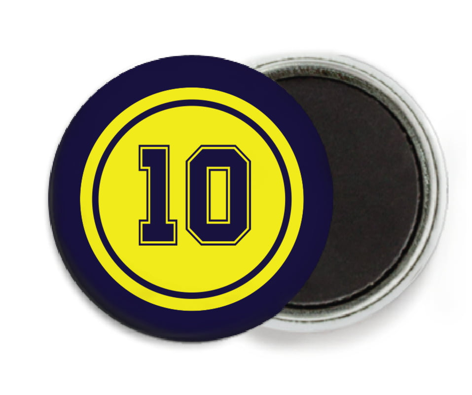 custom button magnets - yellow & navy - football (set of 6)