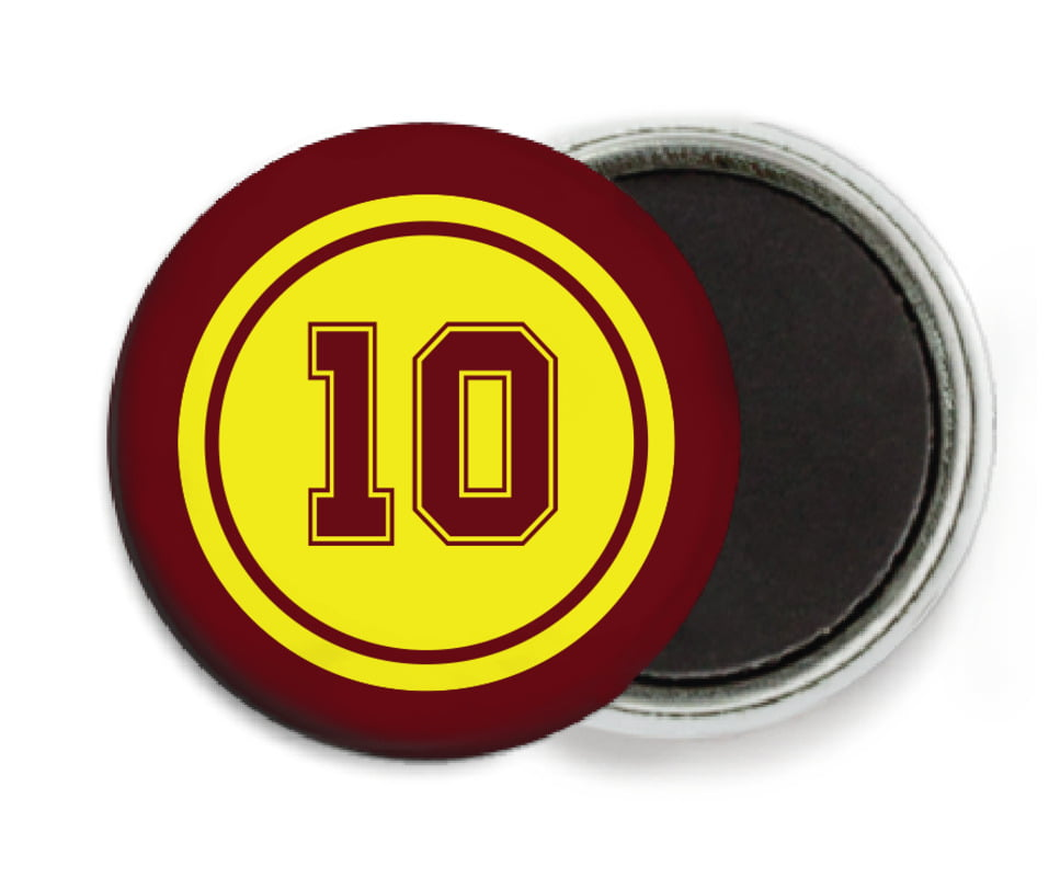 custom button magnets - yellow & maroon - football (set of 6)