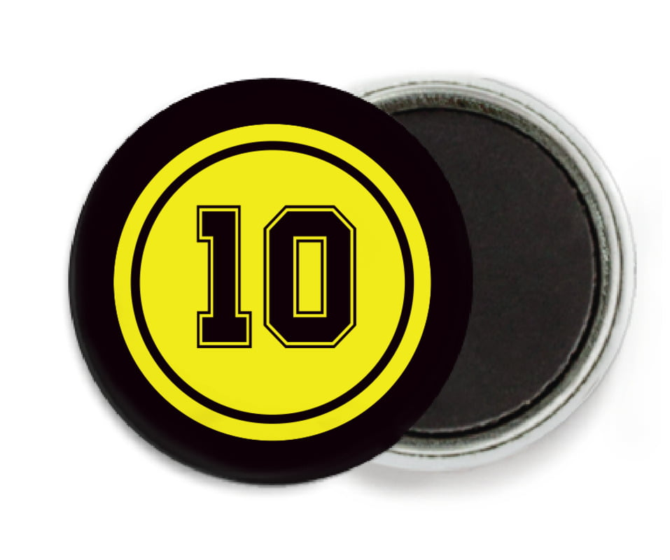 custom button magnets - yellow & black - football (set of 6)
