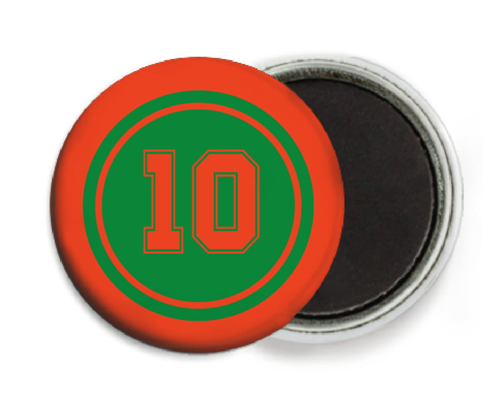 custom button magnets - green & orange - football (set of 6)