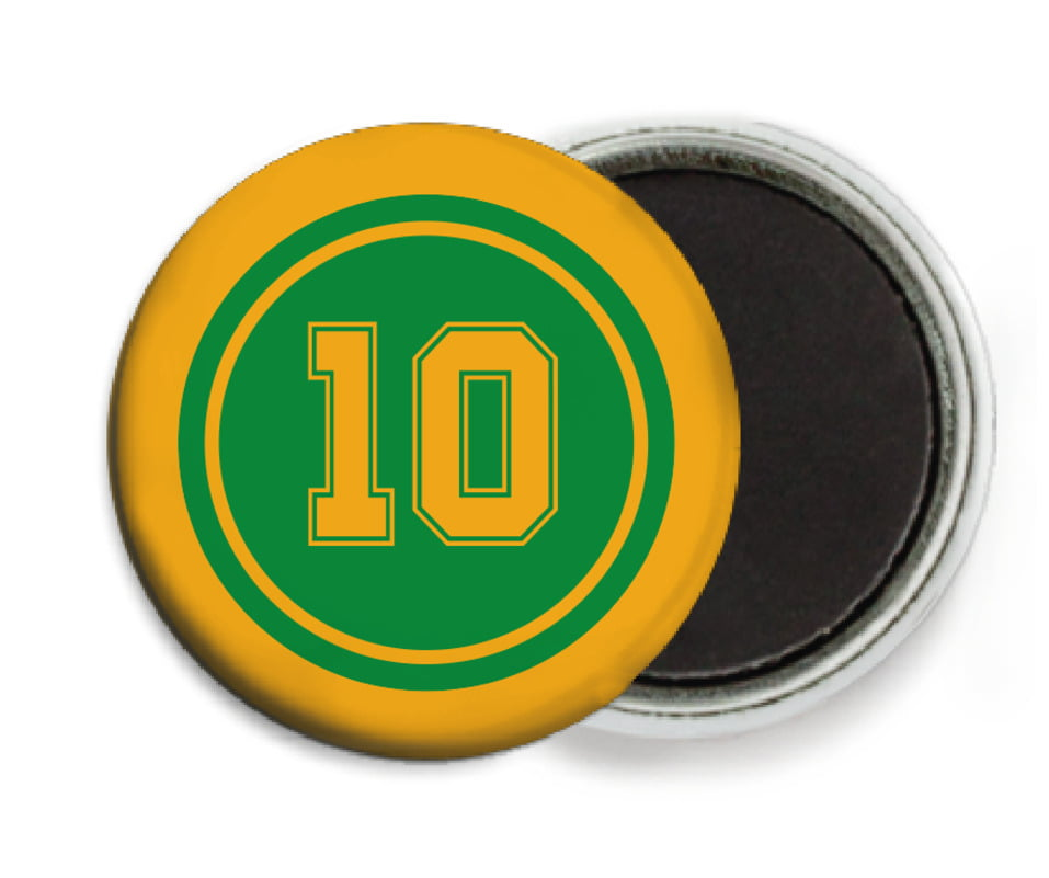 custom button magnets - green & gold - football (set of 6)