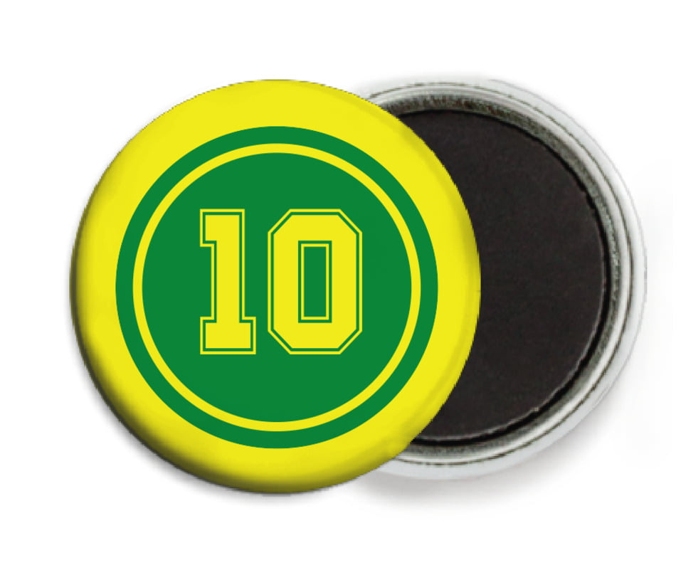custom button magnets - green & yellow - football (set of 6)