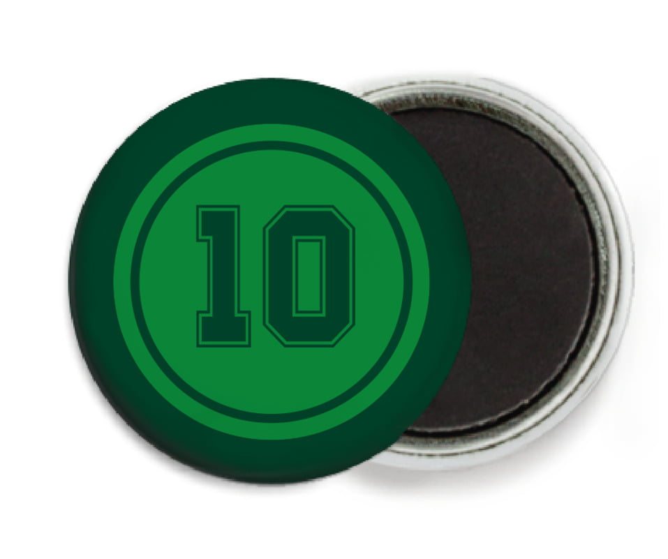 custom button magnets - green & forest - football (set of 6)
