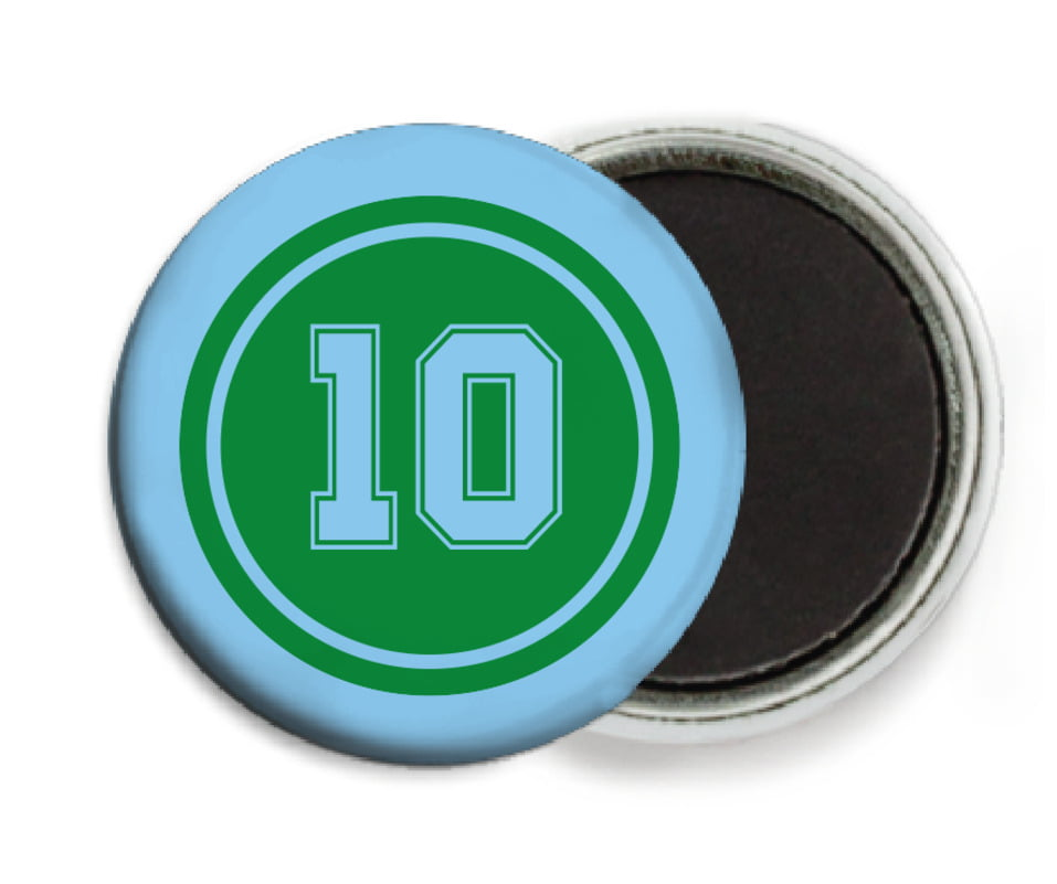 custom button magnets - green & light blue - football (set of 6)