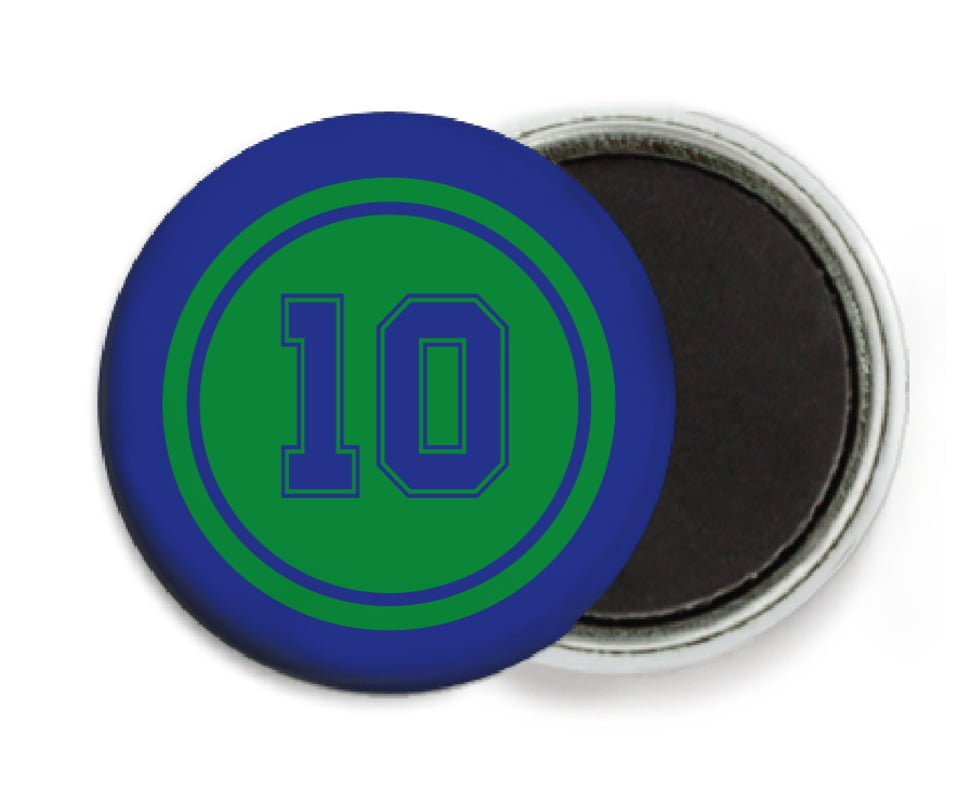 custom button magnets - green & royal - football (set of 6)