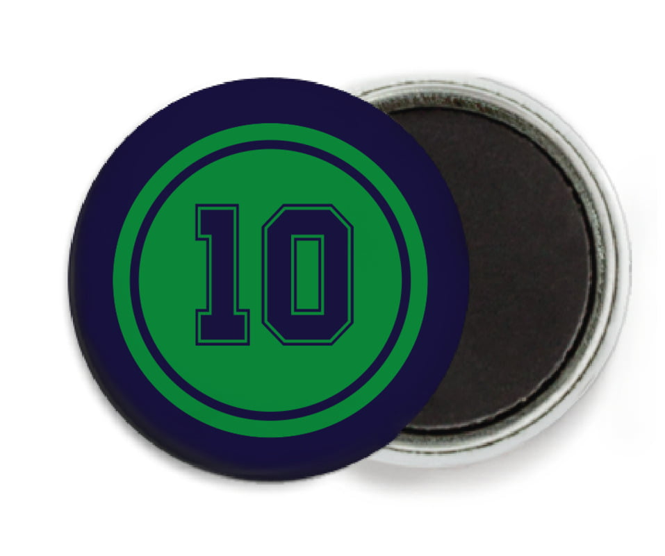 custom button magnets - green & navy - football (set of 6)