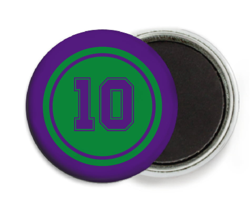custom button magnets - green & purple - football (set of 6)