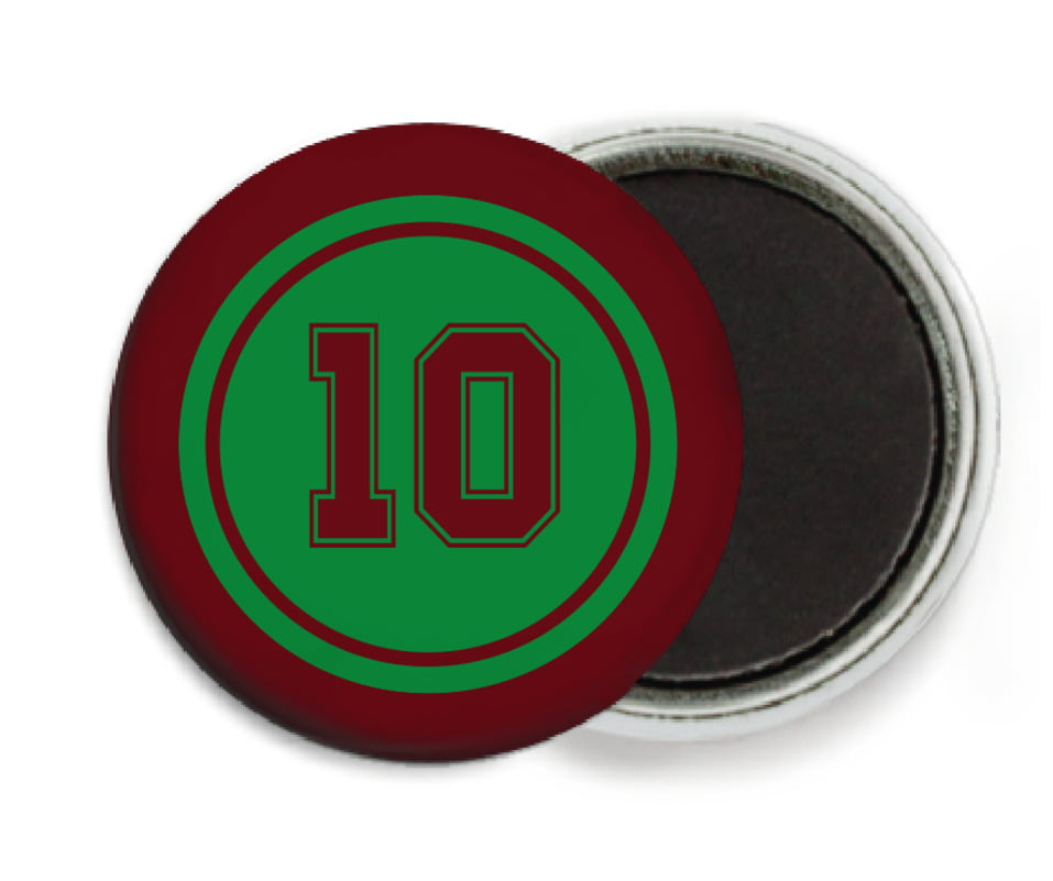 custom button magnets - green & maroon - football (set of 6)