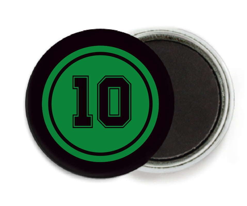 custom button magnets - green & black - football (set of 6)
