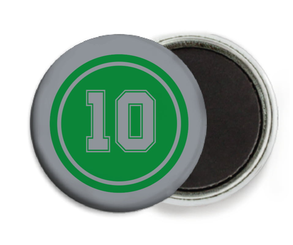custom button magnets - green & silver - football (set of 6)