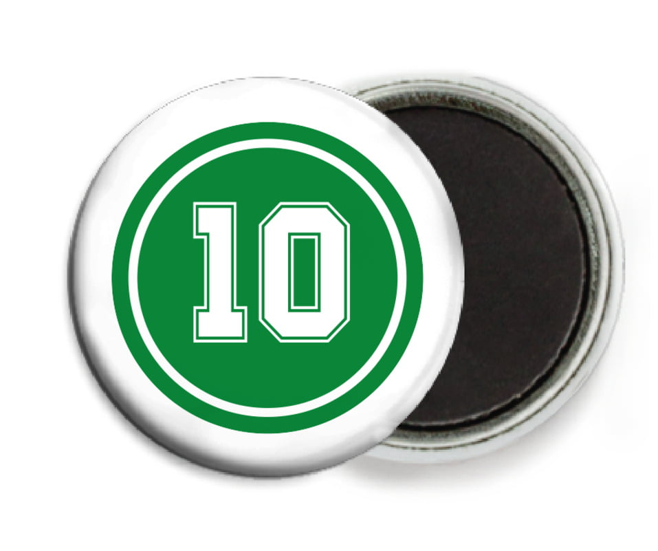 custom button magnets - green & white - football (set of 6)