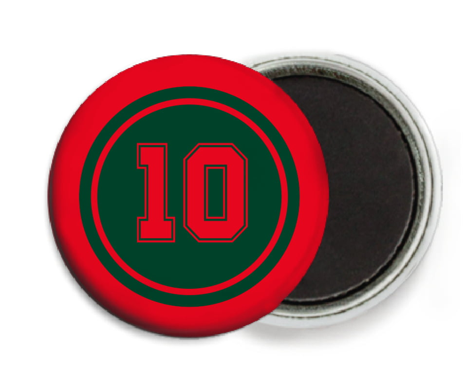 custom button magnets - forest & red - football (set of 6)