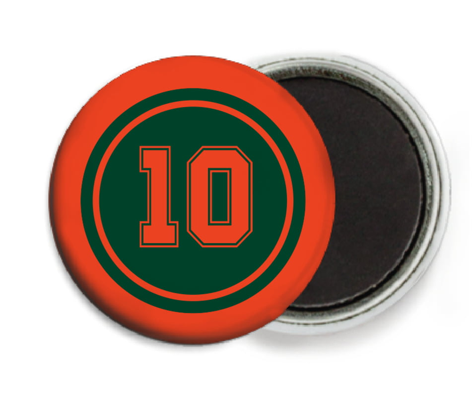 custom button magnets - forest & orange - football (set of 6)