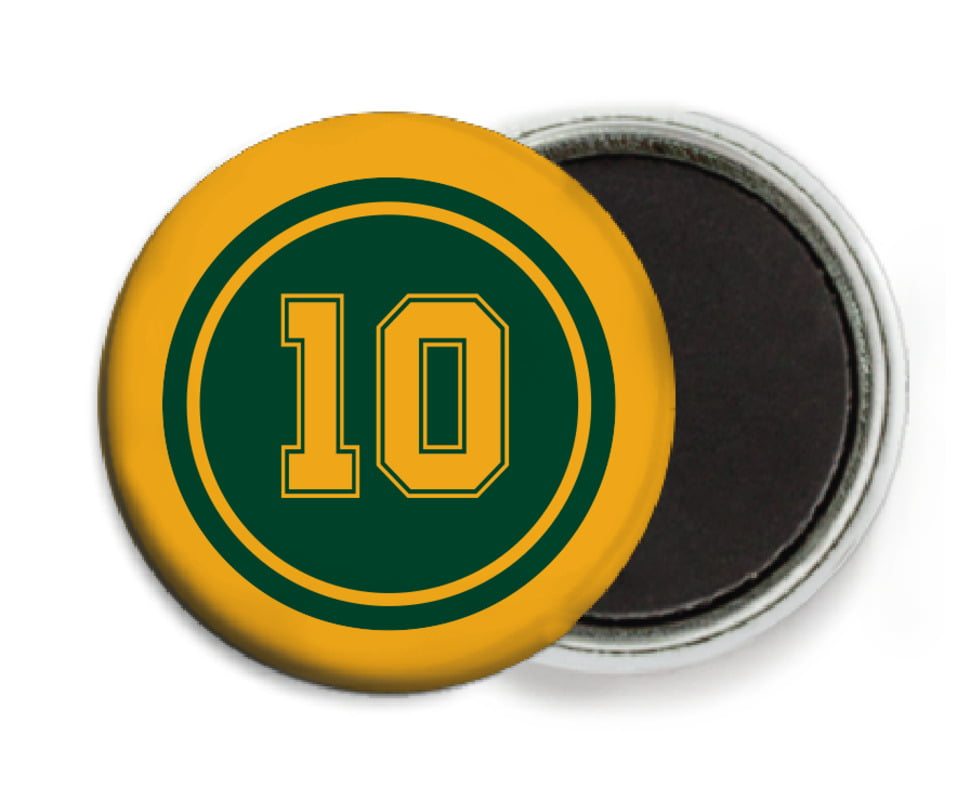 custom button magnets - forest & gold - football (set of 6)