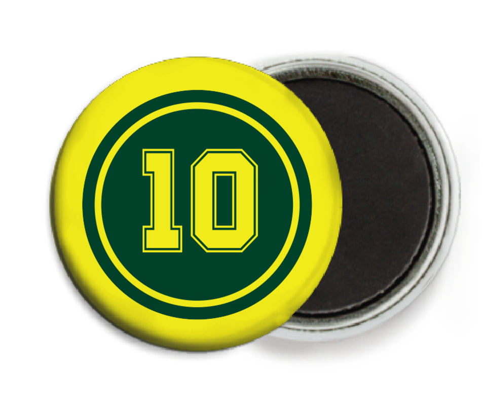 custom button magnets - forest & yellow - football (set of 6)