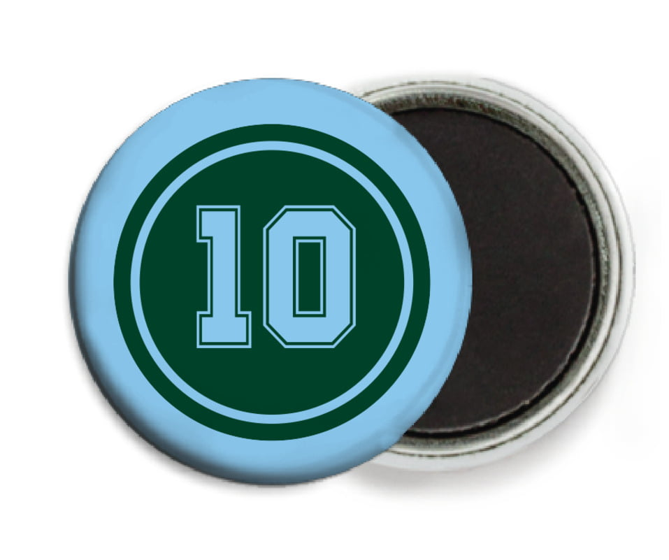custom button magnets - forest & light blue - football (set of 6)