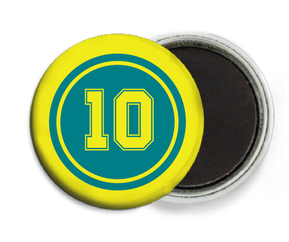 custom button magnets - teal & yellow - football (set of 6)