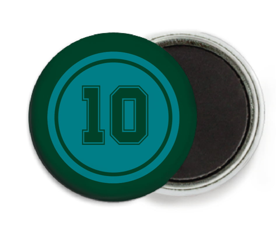 custom button magnets - teal & forest - football (set of 6)