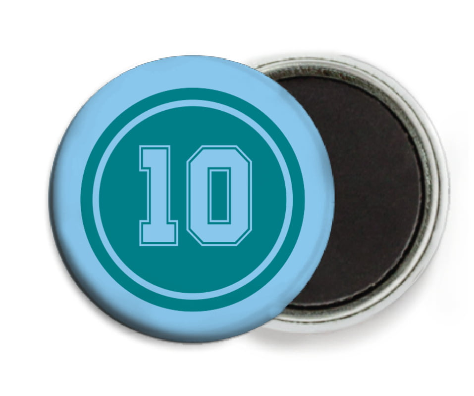 custom button magnets - teal & light blue - football (set of 6)
