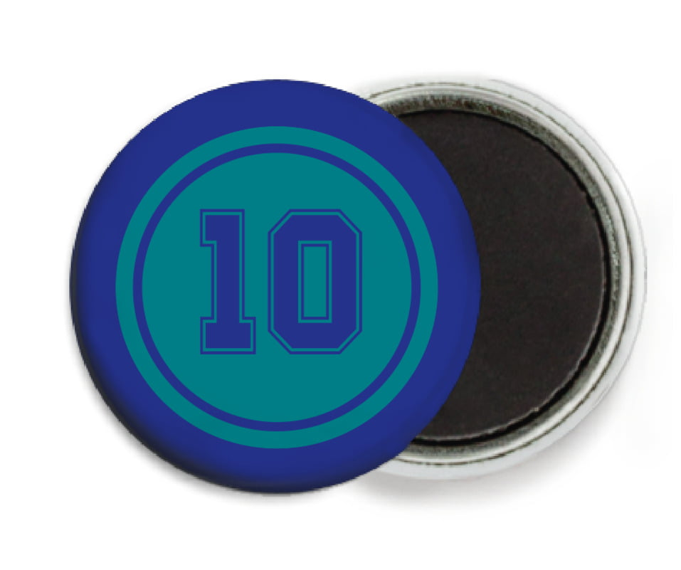 custom button magnets - teal & royal - football (set of 6)