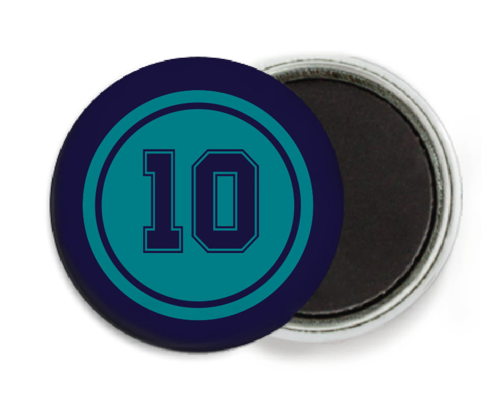 custom button magnets - teal & navy - football (set of 6)