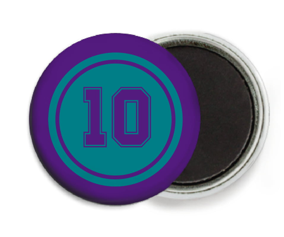 custom button magnets - teal & purple - football (set of 6)