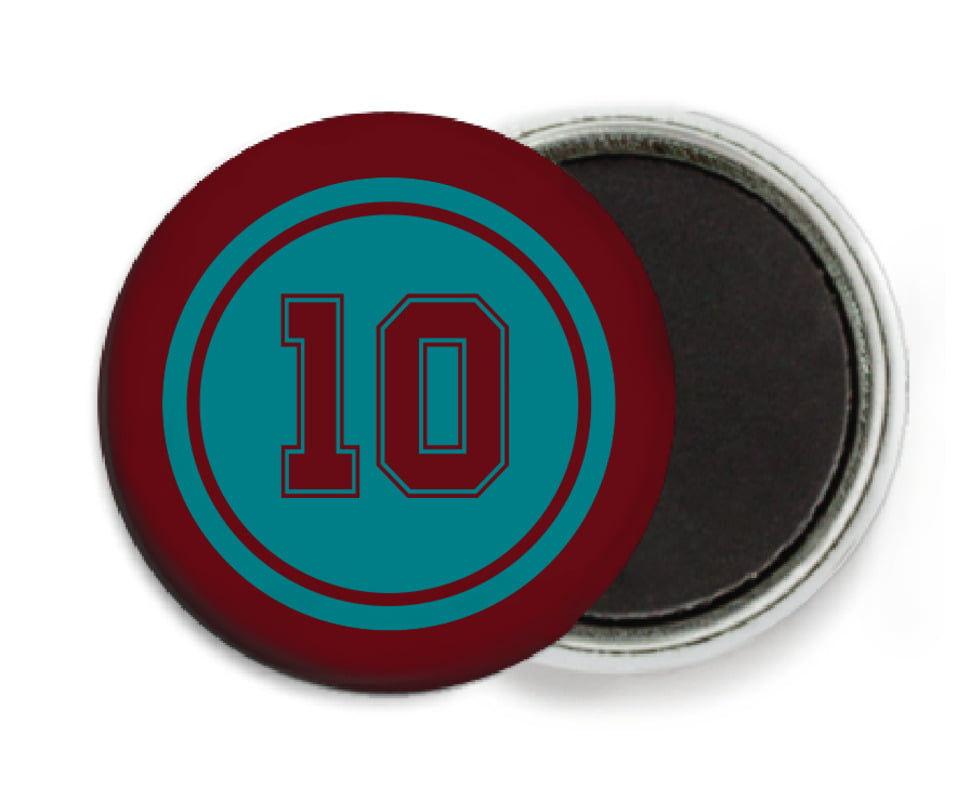 custom button magnets - teal & maroon - football (set of 6)