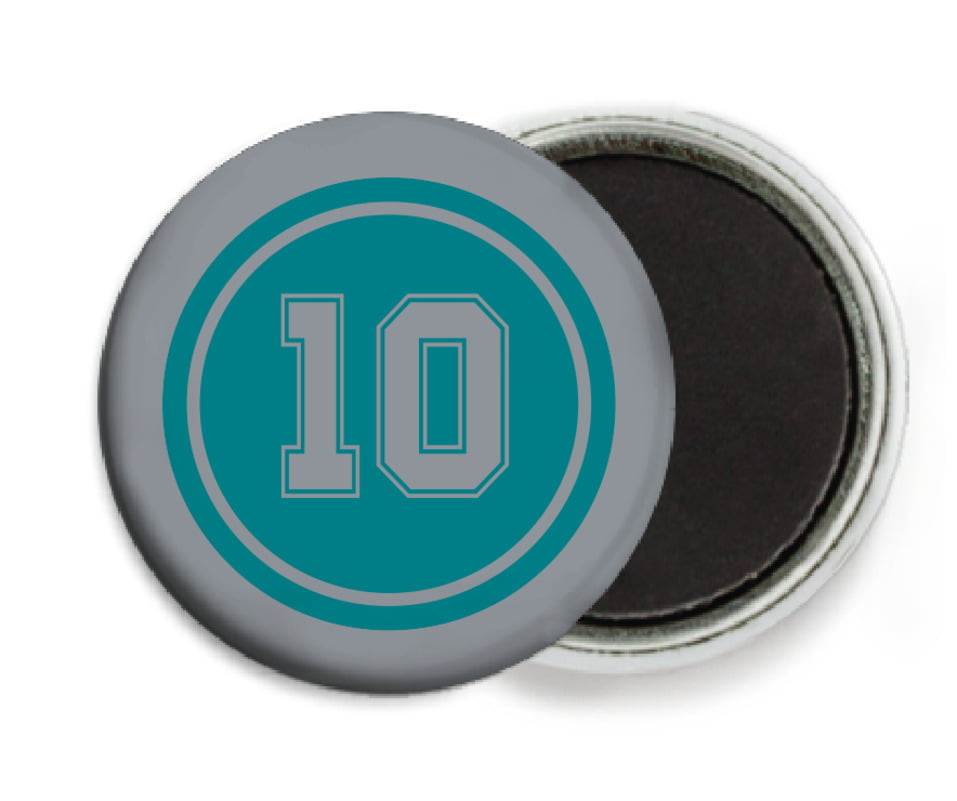 custom button magnets - teal & silver - football (set of 6)